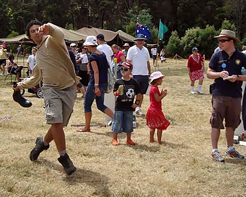 Latrobe Council Henley on Mersey Gumboot throwing competition